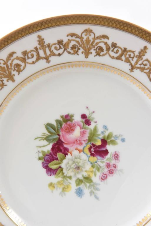 Hand-Crafted Antique Limoges Floral Plates, Raised Gilt Accents, Set of Six