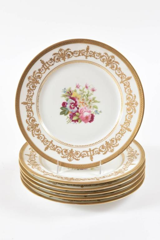 Early 20th Century Antique Limoges Floral Plates, Raised Gilt Accents, Set of Six