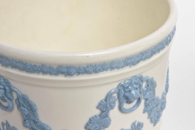 Porcelain Pair of Wedgwood Blue White Cache Pots, Lion's Head Handles Classical Scenes
