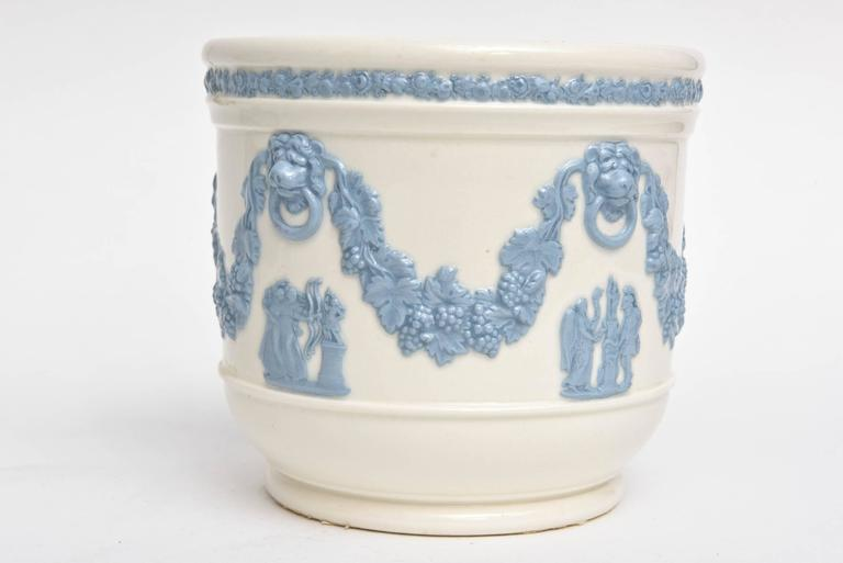 Pair Of Wedgwood Blue White Cache Pots Lion S Head