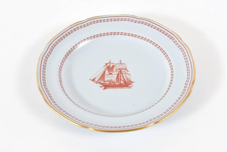 China Service for Ten, 50 Pieces Spode Tradewinds in Red, Dinner ...