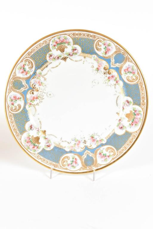 French Pretty Turquoise and Rose Pink Dinner Plates Antique circa 1900 For Sale  sc 1 st  1stDibs : pink dinner plate - pezcame.com