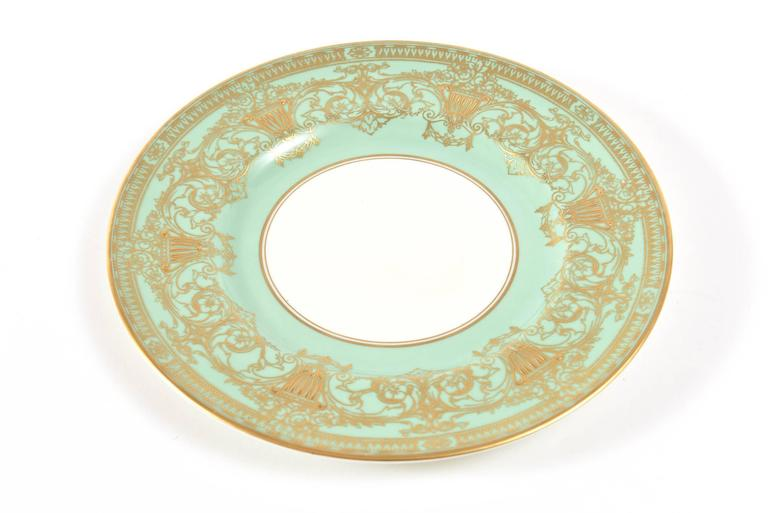 English Set Ten Stunning Turquoise Elaborately Gilded Dinner/Presentation Plates For Sale