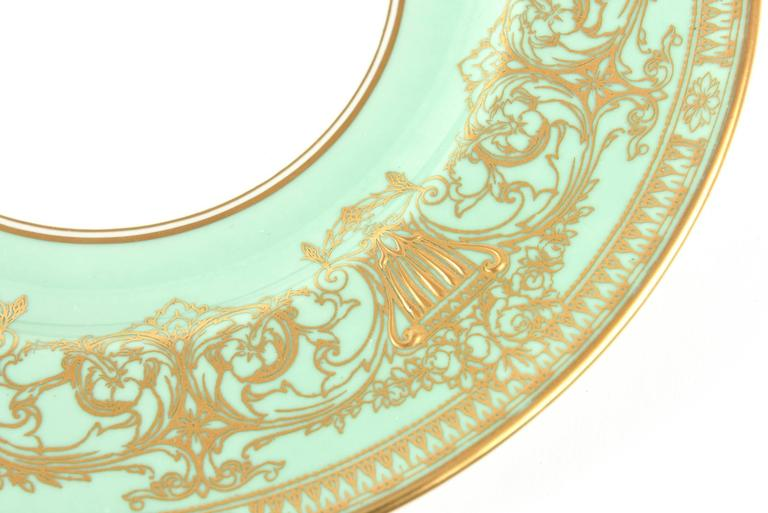 Hand-Crafted Set Ten Stunning Turquoise Elaborately Gilded Dinner/Presentation Plates For Sale