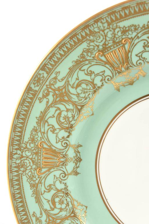 Set Ten Stunning Turquoise Elaborately Gilded Dinner/Presentation Plates In Good Condition For Sale In West Palm Beach, FL