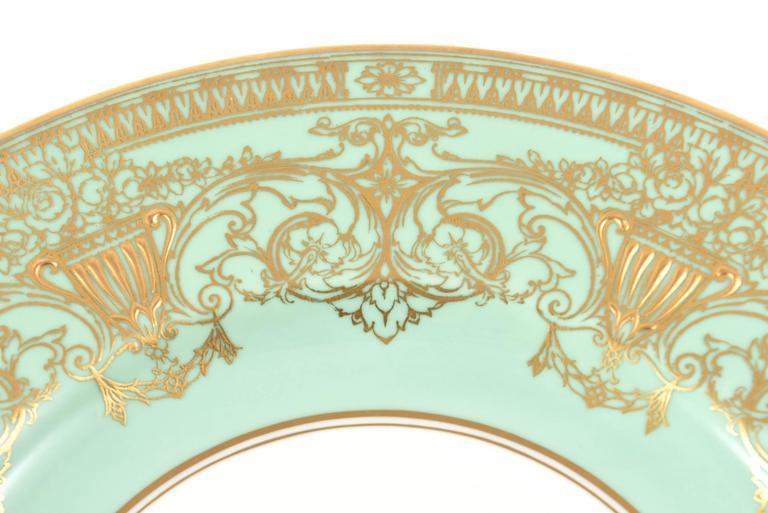 Mid-20th Century Set Ten Stunning Turquoise Elaborately Gilded Dinner/Presentation Plates For Sale