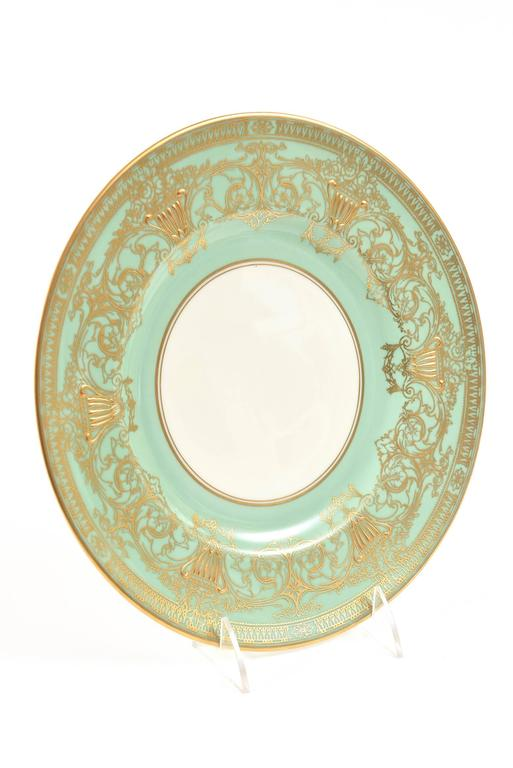 Set Ten Stunning Turquoise Elaborately Gilded Dinner/Presentation Plates For Sale 2