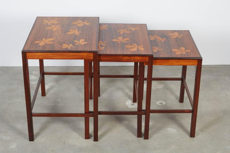 Rosewood Nesting Tables with Chestnut Inlay 3