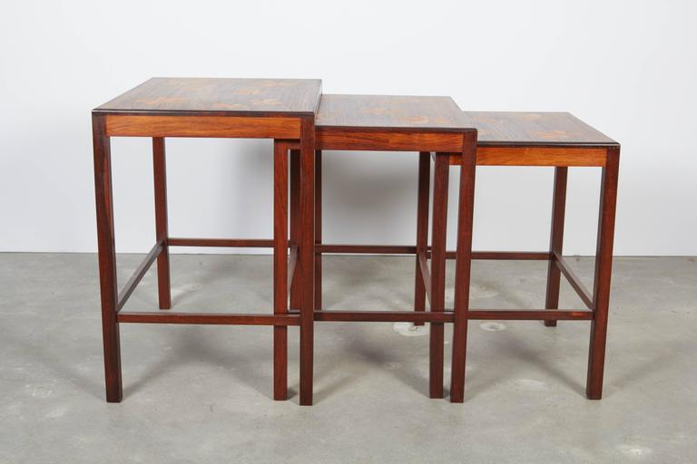 Rosewood Nesting Tables with Chestnut Inlay 4