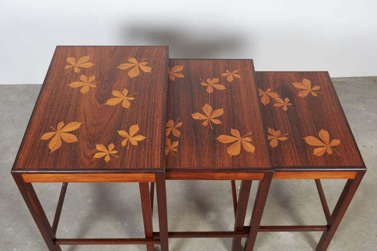 Rosewood Nesting Tables with Chestnut Inlay 5