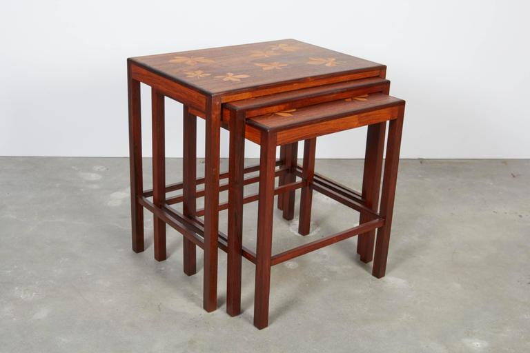 Rosewood Nesting Tables with Chestnut Inlay 6