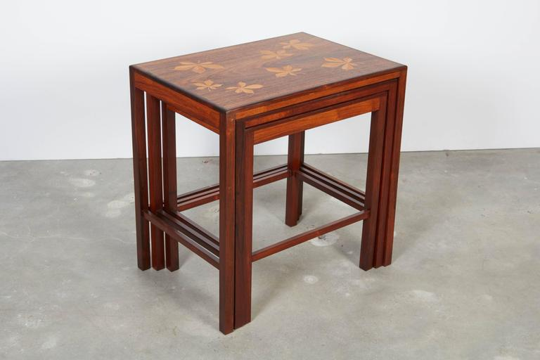 Rosewood Nesting Tables with Chestnut Inlay 7