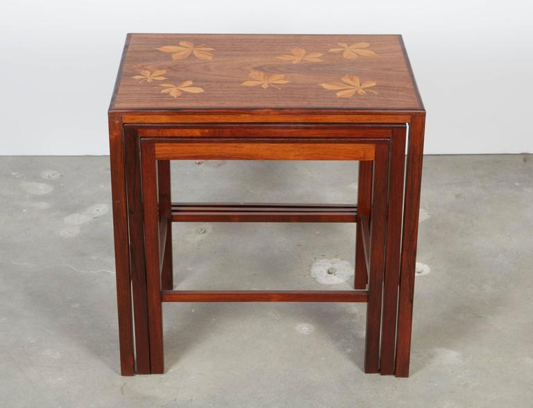 Rosewood Nesting Tables with Chestnut Inlay 2