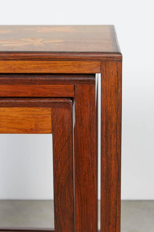Rosewood Nesting Tables with Chestnut Inlay 8