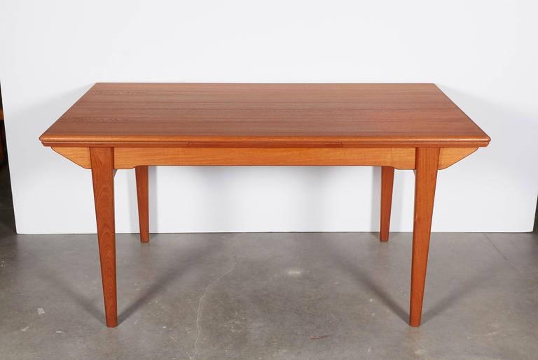 Mid-Century Teak Dining Table, Expandable For Sale At 1stdibs
