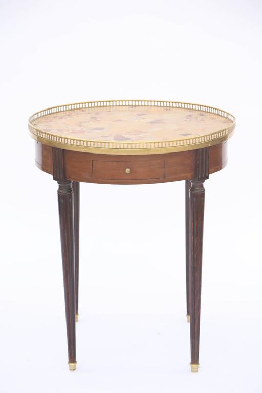 Louis XVI 19th Century French Bouillotte Table with Breche D'alep Marble Top For Sale