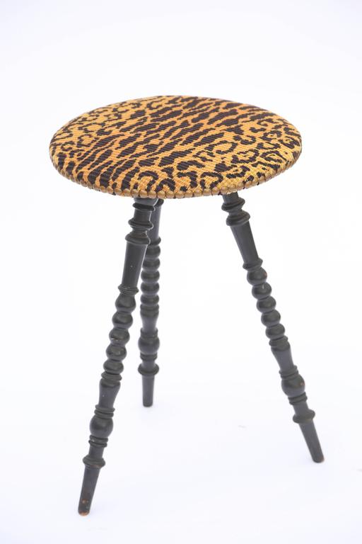 Victorian Turned Leg Tripod Table With Upholstered Round