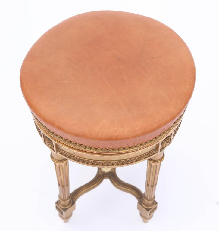 French Giltwood Louis XVI Piano Stool with Leather Seat For Sale