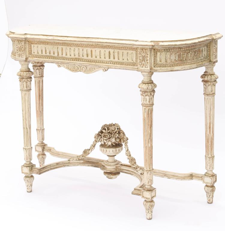 19th century louis xvi demilune console table with white marble top for sale at 1stdibs - White demilune console table ...