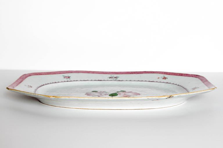 Chinese Export Platters / Hand-Painted Floral Decoration 4