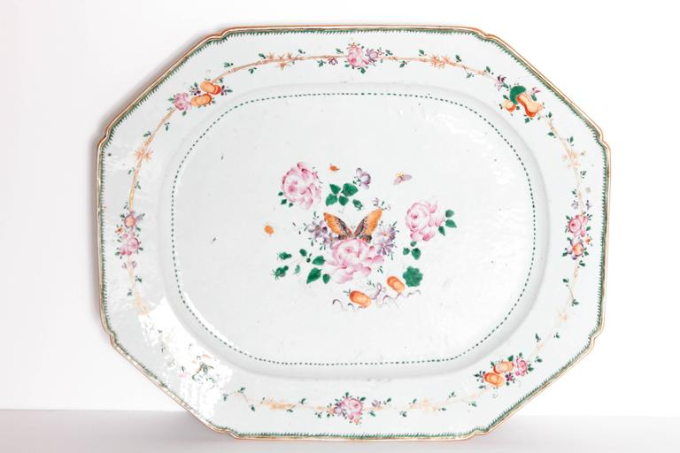 Chinese Export Platters / Hand-Painted Floral Decoration 6