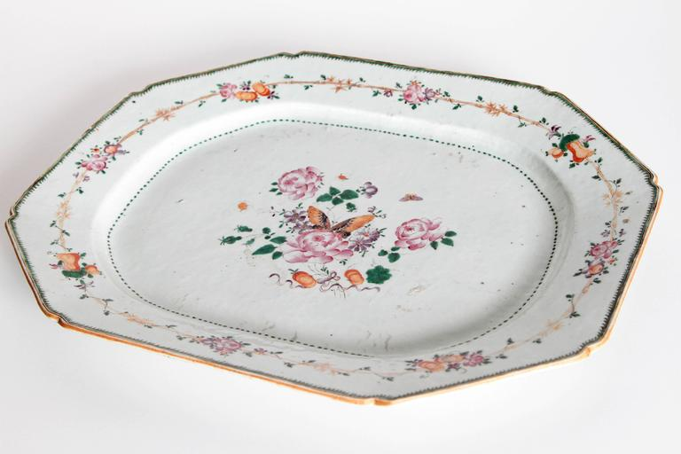 Chinese Export Platters / Hand-Painted Floral Decoration 9