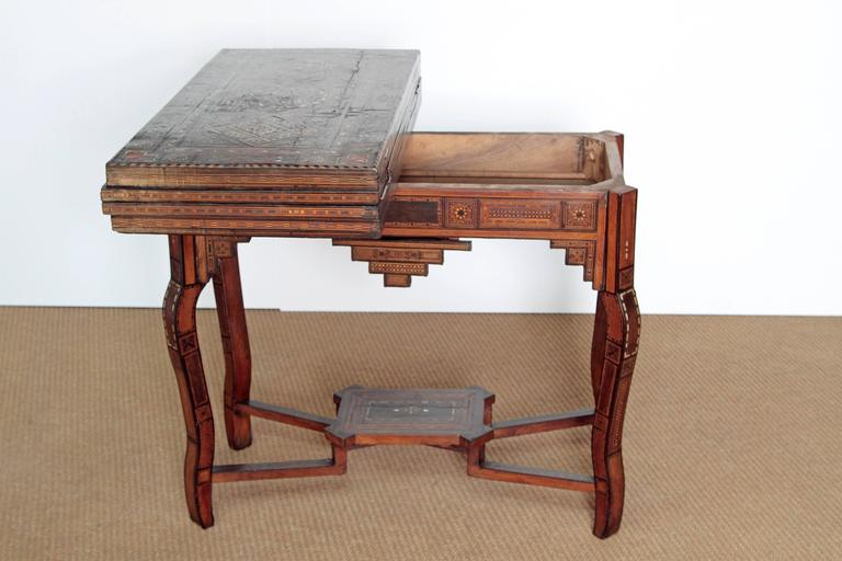 Antique Syrian Folding Games Table In Good Condition For Sale In Dallas, TX