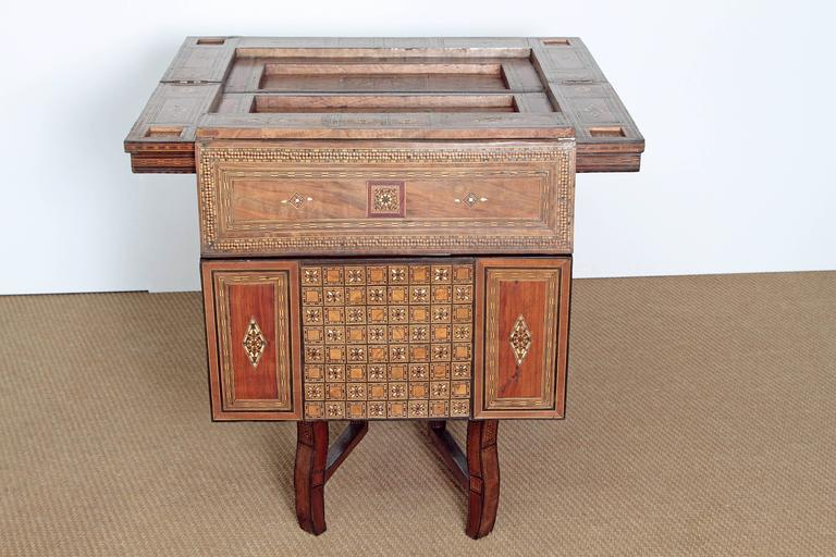 Ebony Antique Syrian Folding Games Table For Sale