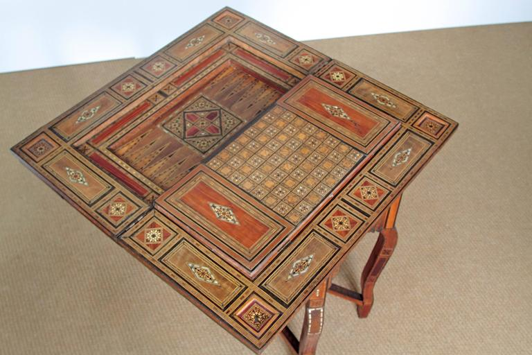Antique Syrian Folding Games Table For Sale 1