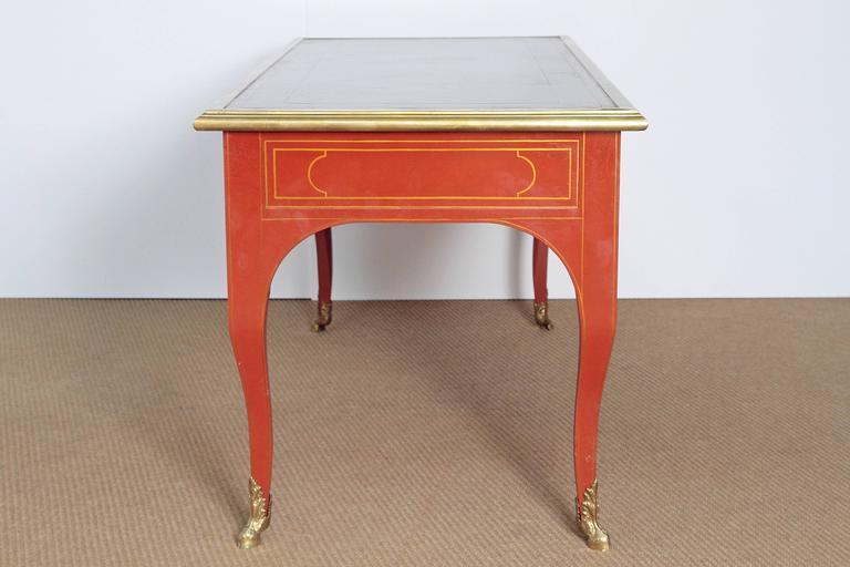 Louis XV Style Orange Lacquer Bureau Plat / Baker Furniture Collector's Edition 2