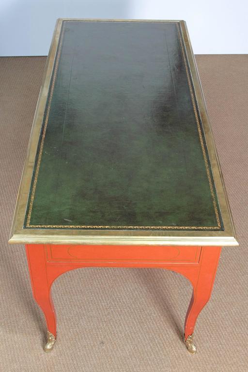 Louis XV Style Orange Lacquer Bureau Plat / Baker Furniture Collector's Edition 3