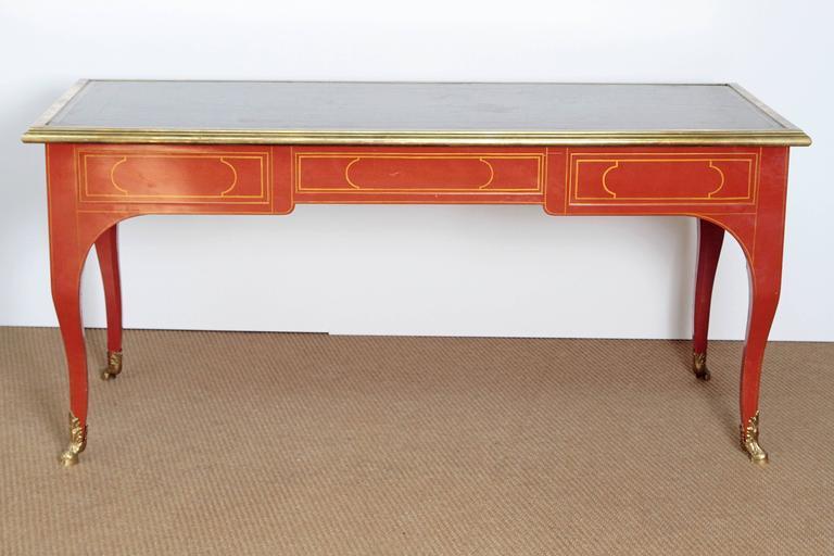 Louis XV Style Orange Lacquer Bureau Plat / Baker Furniture Collector's Edition 4