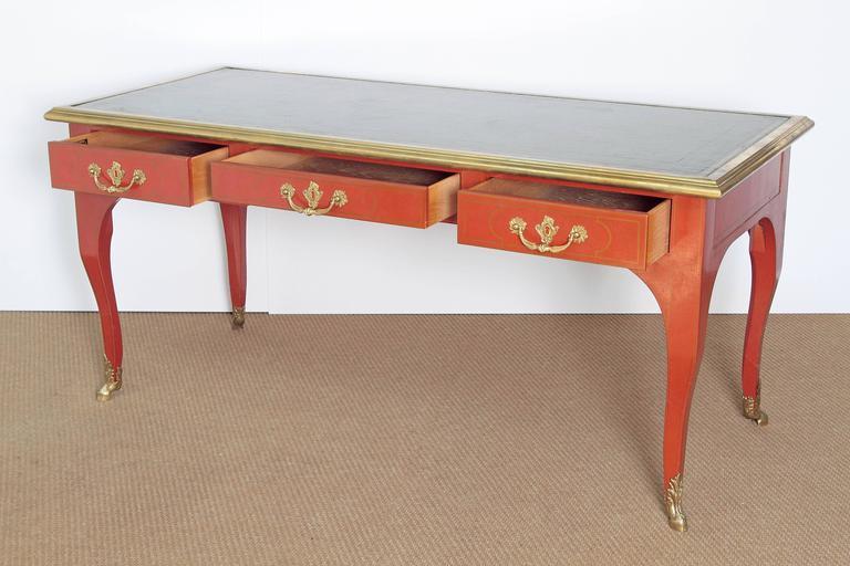 Louis XV Style Orange Lacquer Bureau Plat / Baker Furniture Collector's Edition 5