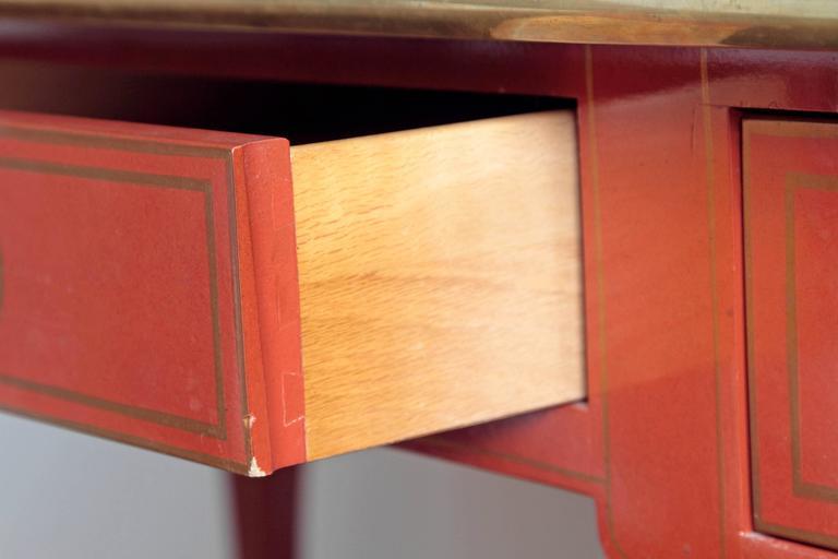 Louis XV Style Orange Lacquer Bureau Plat / Baker Furniture Collector's Edition 7