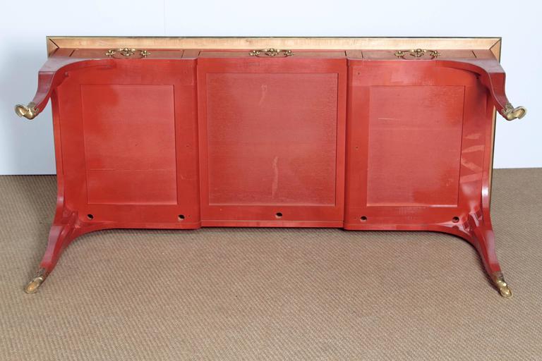 Louis XV Style Orange Lacquer Bureau Plat / Baker Furniture Collector's Edition 8