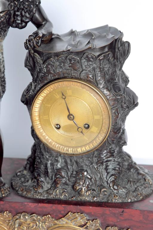 "French Empire Figural Mantel Clock ""Hercule Farnèse"" Attributed to Claude Galle 2"