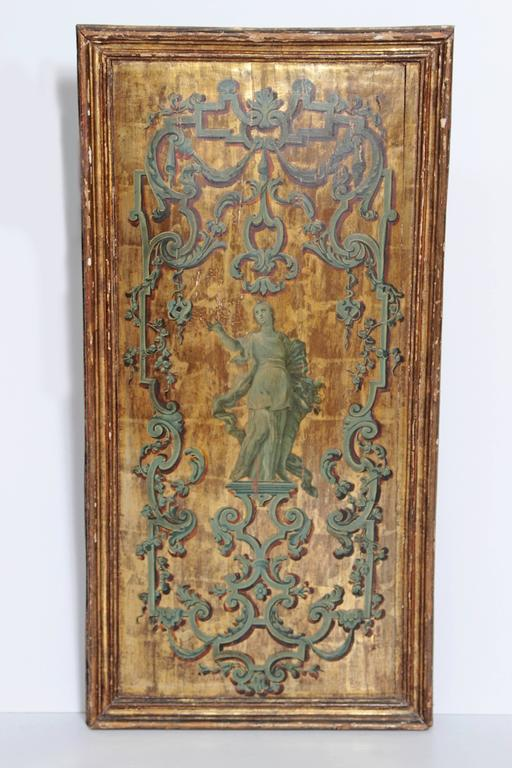 Italian Neoclassical Paint and Parcel Gilt Panels / Roman Goddesses / Muses 8
