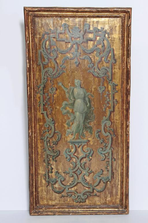 Italian Neoclassical Paint and Parcel Gilt Panels / Roman Goddesses / Muses 10