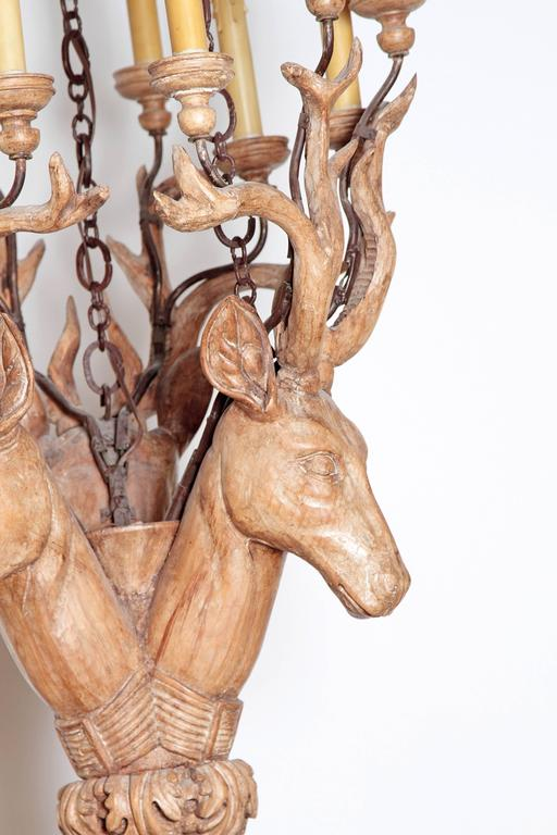 Carved Wooden Stag S Heads Chandelier Vintage Niermann