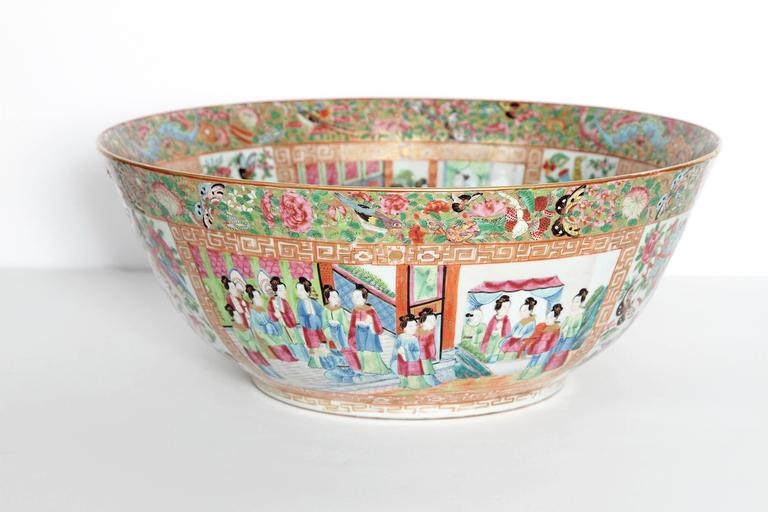 Chinese Export Large 'Canton Famille Rose' Punch Bowl, Mid-19th Century For Sale