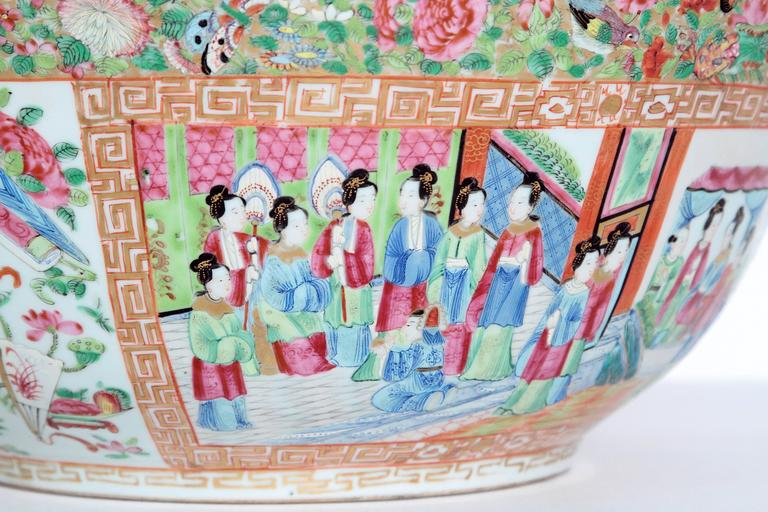 Chinese Large 'Canton Famille Rose' Punch Bowl, Mid-19th Century For Sale