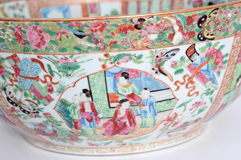 Glazed Large 'Canton Famille Rose' Punch Bowl, Mid-19th Century For Sale