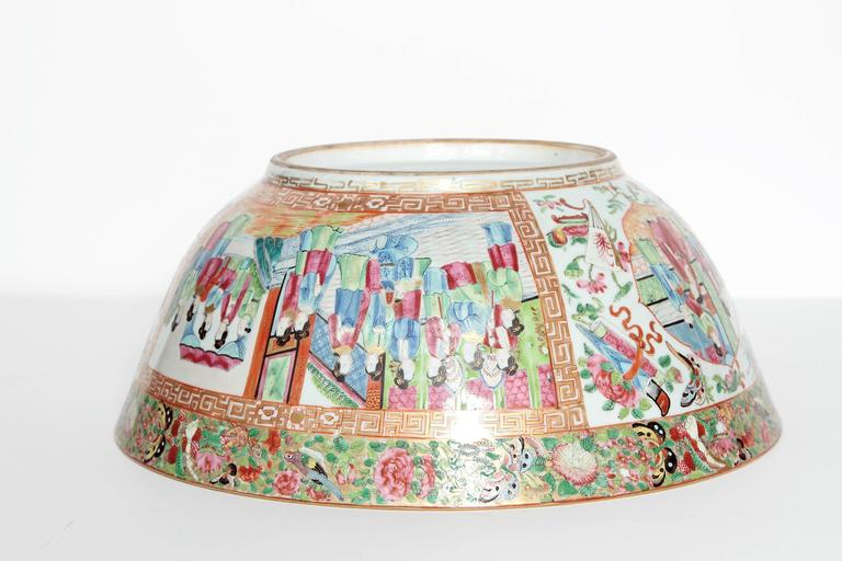 Large 'Canton Famille Rose' Punch Bowl, Mid-19th Century For Sale 2
