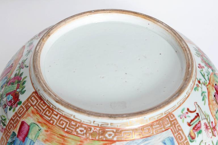 Large 'Canton Famille Rose' Punch Bowl, Mid-19th Century For Sale 3