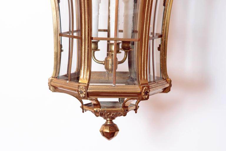 Large Pair of Louis XIV Style Gilded Bronze Lanterns In Good Condition For Sale In Dallas, TX