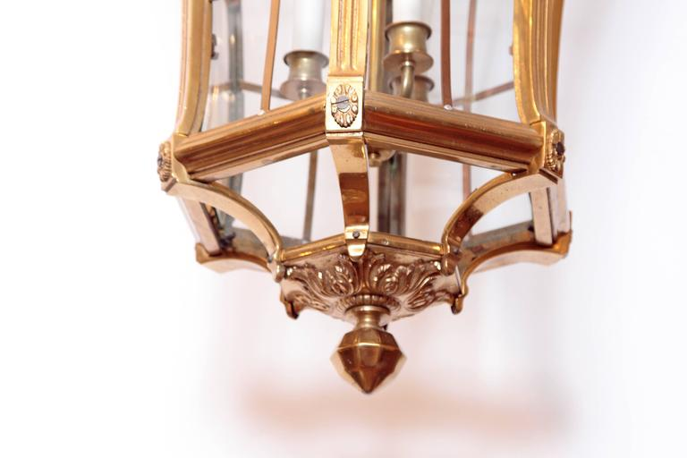 Large Pair of Louis XIV Style Gilded Bronze Lanterns 7