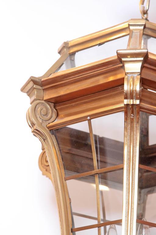 Large Pair of Louis XIV Style Gilded Bronze Lanterns 8
