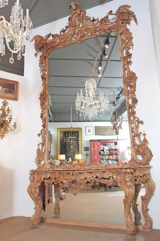 George III Irish Rococo Style Carved Pine Pier Mirror and Matching Console 2