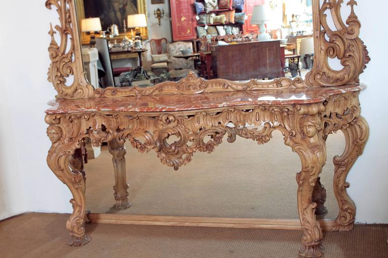 George III Irish Rococo Style Carved Pine Pier Mirror and Matching Console 3