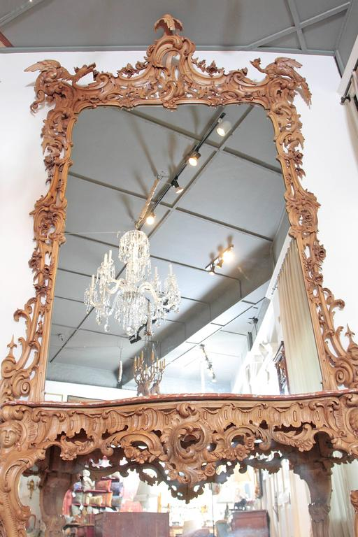 George III Irish Rococo Style Carved Pine Pier Mirror and Matching Console 4
